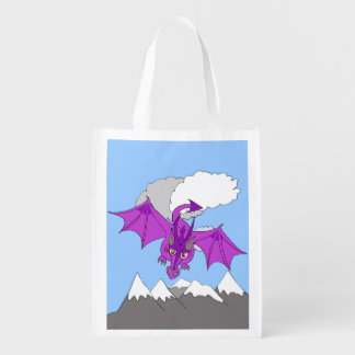 dragon flying above mountains reusable grocery bag