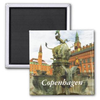 Dragon Fountain in Copenhagen 2 Inch Square Magnet