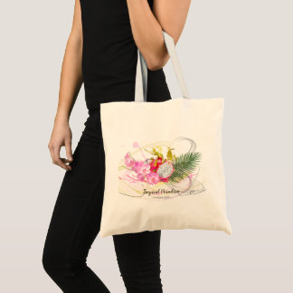 Dragon Fruit and Pink Orchid Tropical Calligraphy Tote Bag