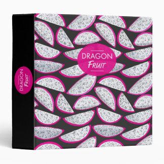 Dragon fruit pattern on black background 3 ring binder