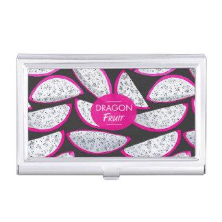 Dragon fruit pattern on black background business card holder