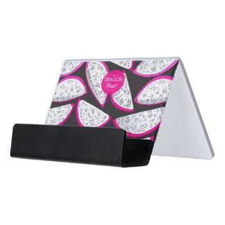 Dragon fruit pattern on black background desk business card holder