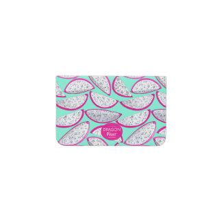 Dragon fruit pattern on teal background business card holder
