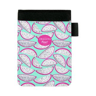 Dragon fruit pattern on teal background mini padfolio