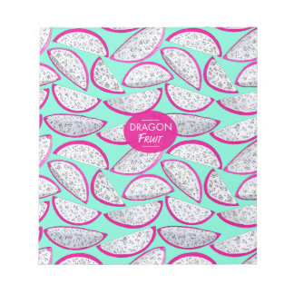 Dragon fruit pattern on teal background notepad