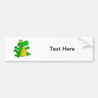 Dragon Funny Happy Fantasy Fiction Drawing Cartoon Bumper Sticker