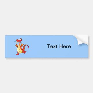 Dragon Funny Happy Fantasy Fiction Drawing Cartoon Car Bumper Sticker