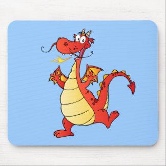 Dragon Funny Happy Fantasy Fiction Drawing Cartoon Mouse Pad