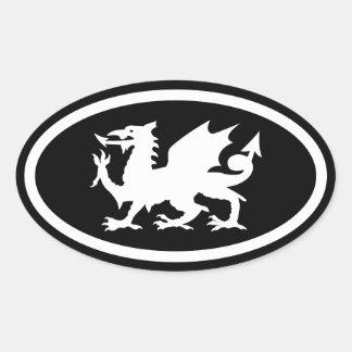 Dragón Galés Pegatina Ovalada