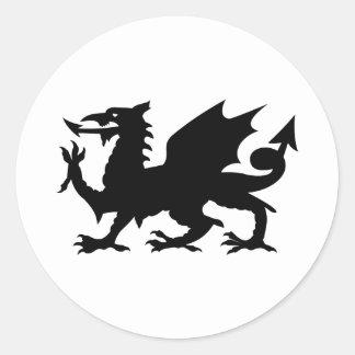 Dragón Galés Pegatina Redonda