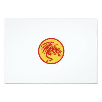 Dragon Gargoyle Crouching Circle Retro Card