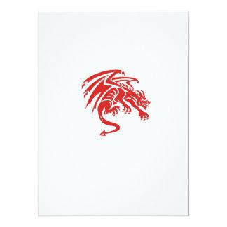 Dragon Gargoyle Crouching Silhouette Retro Card