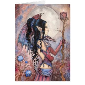 Dragon Girl Gothic Fantasy Art by Molly Harrison Card