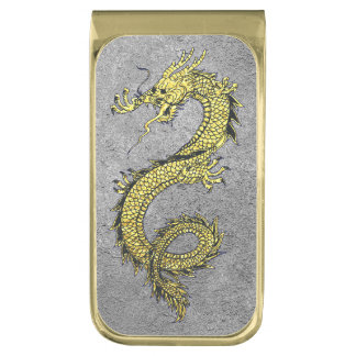 Dragon Gold on Silver Personalize Gold Finish Money Clip