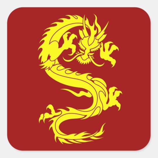 dragon golden square sticker