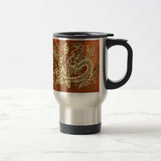 Dragón grabado en relieve del oro en el satén anar taza de café