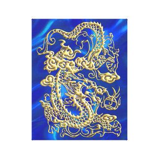 Dragón grabado en relieve del oro en el satén azul lona envuelta para galerias