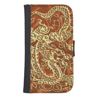 Dragón grabado en relieve del oro en el satén billeteras para teléfono