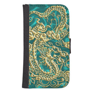 Dragón grabado en relieve del oro en el satén de billeteras para teléfono