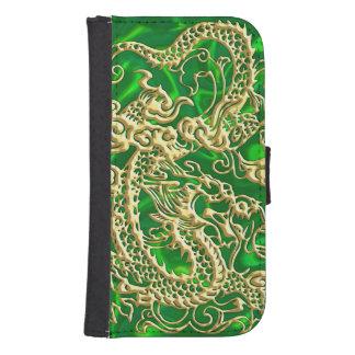 Dragón grabado en relieve del oro en el satén funda billetera para teléfono