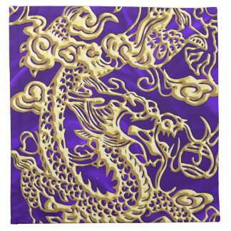 Dragón grabado en relieve del oro en el satén servilletas