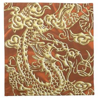 Dragón grabado en relieve del oro en el satén servilletas imprimidas