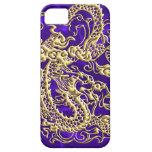 Dragón grabado en relieve del oro en la caja púrpu iPhone 5 Case-Mate cobertura