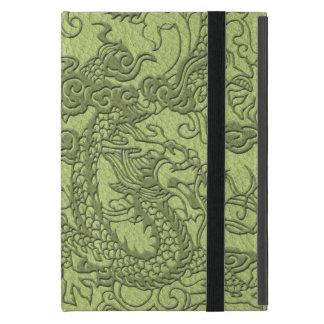 Dragón grabado en relieve en textura del cuero de iPad mini cárcasa