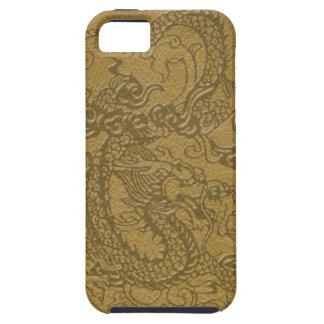 Dragón grabado en relieve en textura del cuero de iPhone 5 funda
