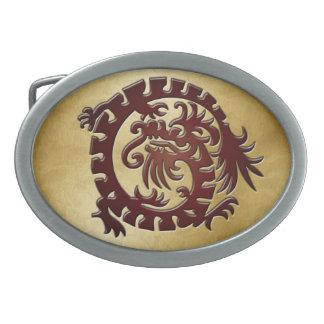 Dragón grabado en relieve rojo en el oro - NBG - h Hebilla Cinturon Oval