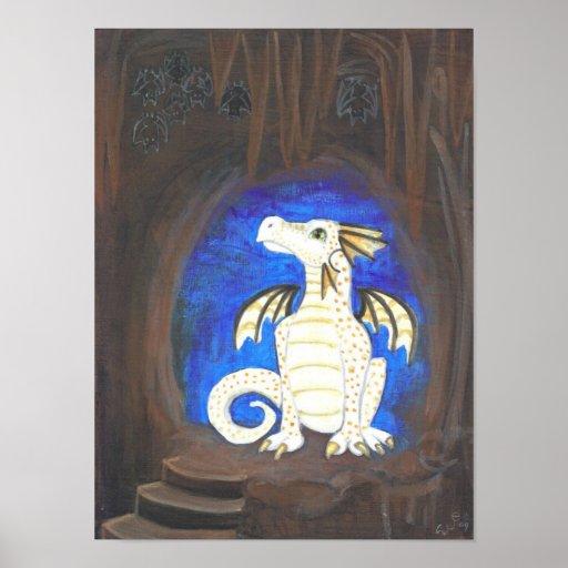Dragón grande del blanco del ojo del Spelunker + G Póster