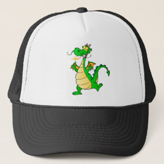 Dragon Green Happy Fantasy Fiction Drawing Cartoon Trucker Hat