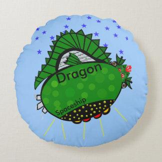 Dragon Green Spaceship Stars Kids Round Pillow