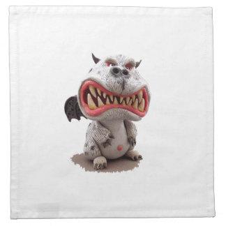 Dragón gris con mueca abierta enojada de la boca servilleta imprimida