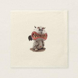 Dragón gris con mueca abierta enojada de la boca servilletas de papel