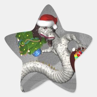 Dragón gris pegatina en forma de estrella