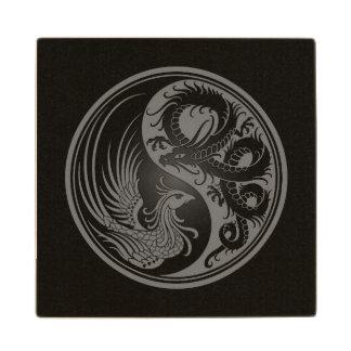 Dragón gris y negro Phoenix Yin Yang