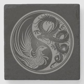 Dragón gris y negro Phoenix Yin Yang Posavasos De Piedra