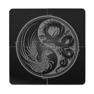 Dragón gris y negro Phoenix Yin Yang Posavasos De Puzzle