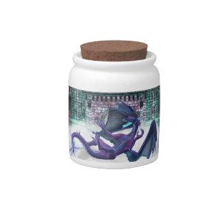 Dragon Guarding Castle Candy Jar