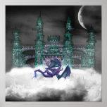 Dragon Guarding Castle  Posters