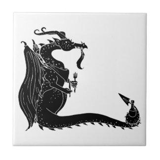 Dragón hambriento del recorte negro azulejo ceramica