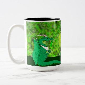 Dragón hambriento taza dos tonos