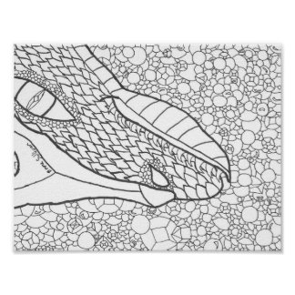 Dragon Hand Drawn Coloring Page Poster