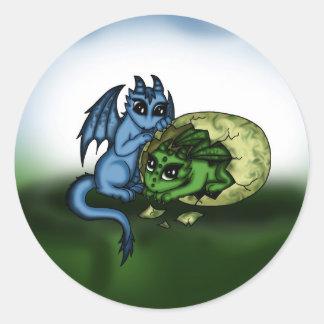 Dragon Hatching Classic Round Sticker