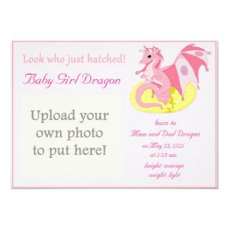 "Dragon Hatchling Birth Announcement for Girls 5"" X 7"" Invitation Card"