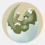 Dragon hatchling round stickers