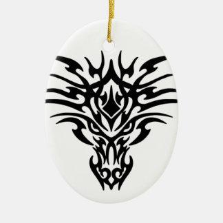 Dragon head adorno navideño ovalado de cerámica