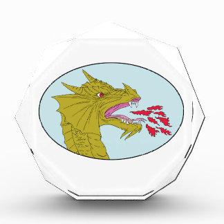 Dragon Head Breathing Fire Oval Drawing Acrylic Award