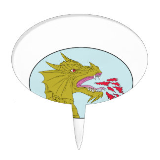 Dragon Head Breathing Fire Oval Drawing Cake Topper